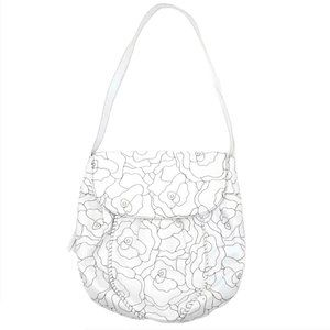 Hobo White Leather Embroidered Floral Shoulder Bag